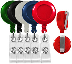 economy badge reels round with belt clip
