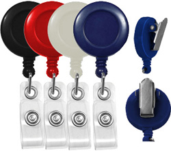 economy badge reels round with spring clips
