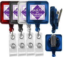 custom square spring clip translucent badge reels