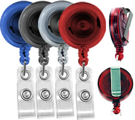 Translucent round badge reel with belt clip